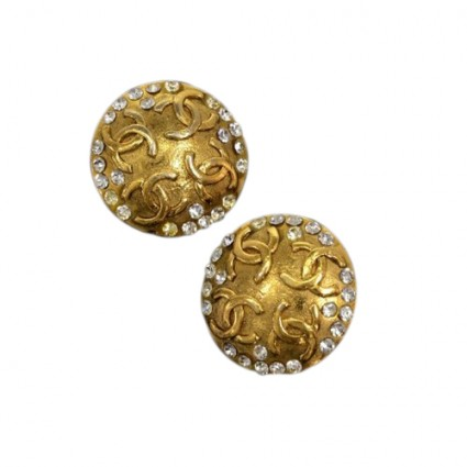 2 11781 239352  chanel gold tone cc logo stone large round earrings    b4c86eba