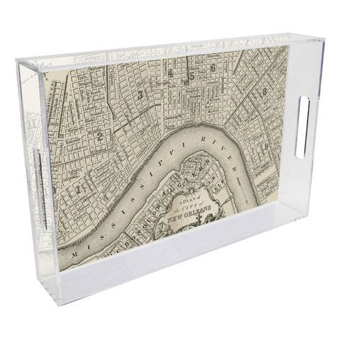 New orleans map lucite tray rect