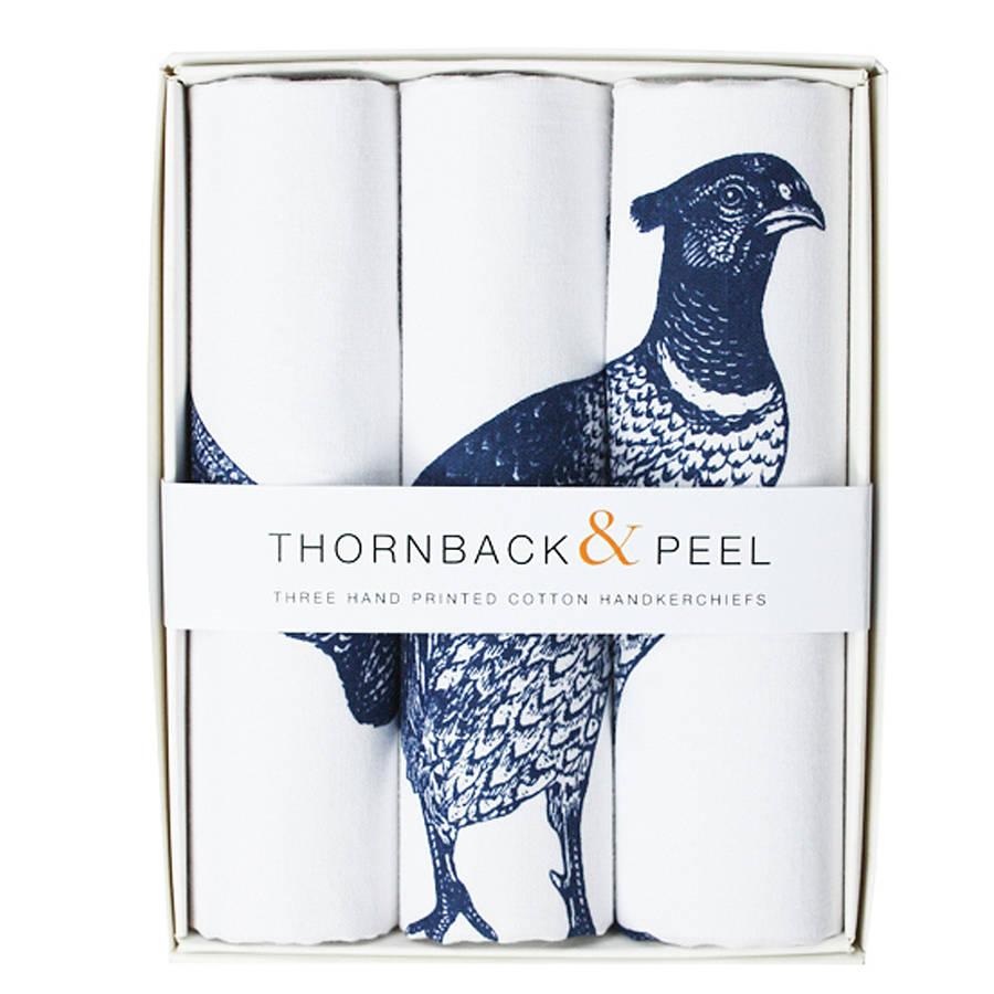 Original box of three pheasant handkerchiefs